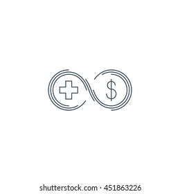 Health insurance, healthcare concept, medical check up, aid charity donation logo, diagnostics services, life coverage icon, linear design