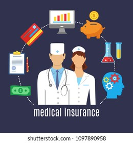 Health insurance. Healthcare, medicine. Medical staff surrounded by elements for life and health insurance. Flat design graphic elements, line icons set. Vector banner concept with icons.