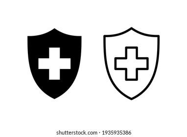 Health insurance icon set. Insurance health document icon