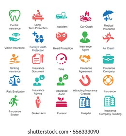 Health Insurance Icons - Colored Series (Set 2)