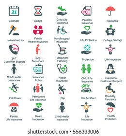 Health Insurance Icons - Colored Version (Set 1)
