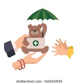 Health Insurance for Kids Vector Illustration. Medical Insurance Purchase Concept