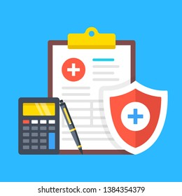Health insurance, medical insurance. Clipboard with medical document, calculator, pen and shield with cross. Flat design. Vector illustration