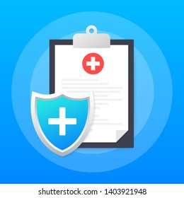 Health insurance. Medical protection, medical insurance concepts. Flat design. Vector stock illustration