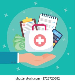 health insurance service with medical kit vector illustration design