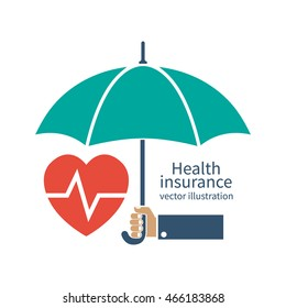 Health insurance silhouette icon. Protection concept, care medical. Healthcare concept. Doctor holding an umbrella, protecting the heart. Vector illustration flat design style.