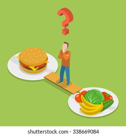 Health or junk food isometric flat vector illustration. Man on the bridge between plate with junk and health food is thinking which to choose.