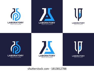 Health Lab Bottle Sets Collection Logo Templates
