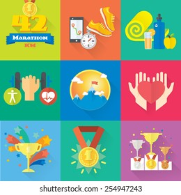 Health, lifestyle, champion set of colorful flat icons. Health care, success and winning. Vector illustration and design element