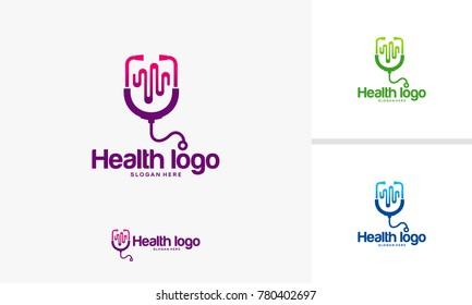 Health logo designs concept, Doctor logo designs with pulse symbol