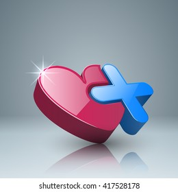 Health logo. Heart and plus icon.