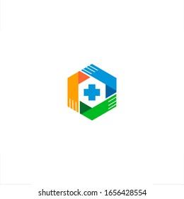 Health logo hexagon medical hands design