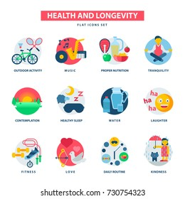 Health and longevity icons modern activity durability vector natural healthy life product food nutrition illustration