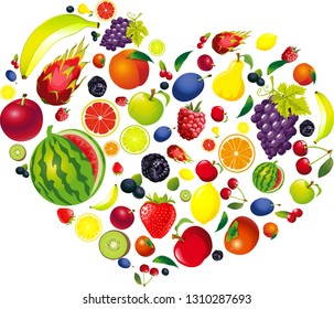 Health Love Heart Made of Fruit - Vector Illustration