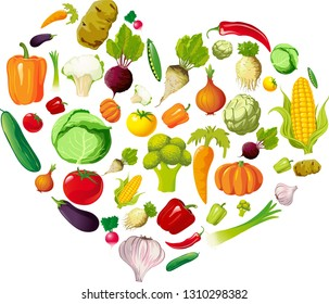Health Love Heart Made of Vegetable - Vector Illustration