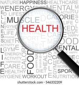 Health. Magnifying glass over seamless background with different association terms.