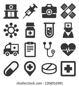 Health Medic Icons Set on White Background. Vector