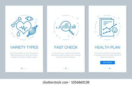Health and medical concept onboarding app screens. Modern and simplified vector illustration walkthrough screens template for mobile apps.