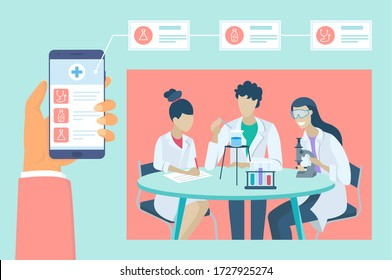 Health and medical consultation application on smartphone. Online medical consultation and lab test results app, healthcare and technology concept. Medical app on smartphone screen. Mobile medicine