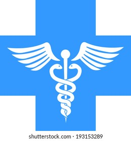 Health, Medical and Hospital Symbol on Blue cross