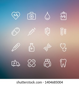 Health and medical icon set. Changeable stroke width.