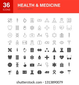 Health Medicine Line Web Glyph Icons. Vector Illustration of Medical Outline and Solid Symbols.