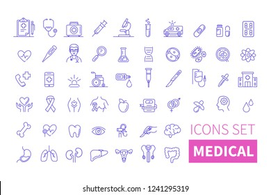 Health and medicine thin line icons. Line style vector illustration.