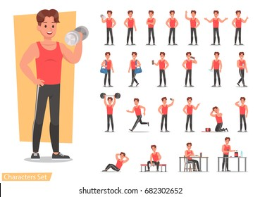 Health men are exercising character design set. Vector design.