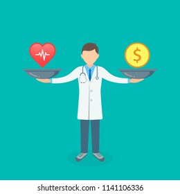 Health or money with doctor and scales vector illustration. Heart versus money on scales concept. Vector.