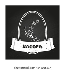 Health and Nature Collection. Badge template with a herb on chalkboard background.  Bacopa