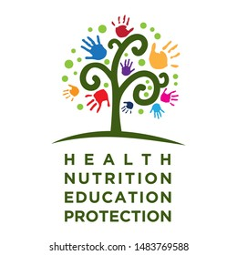 health, nutrition, education, protection. typography, colorful hands and abstract tree, vector