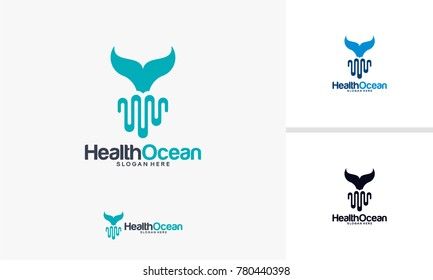 Health Ocean logo designs concept, Whale and Pulse logo designs template