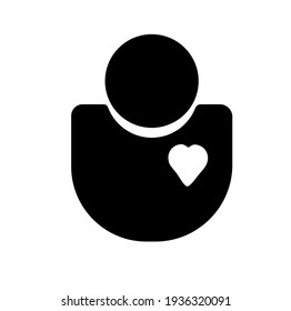 Health officer outline vector icon. Heart sign. Love symbol. Healthcare person. Worker avatar. Flat simple line design illustration.