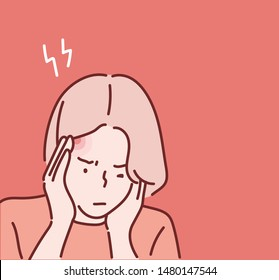 Health And Pain. Stressed Exhausted Young Woman Having Strong Tension Headache. Hand drawn style vector design illustrations.
