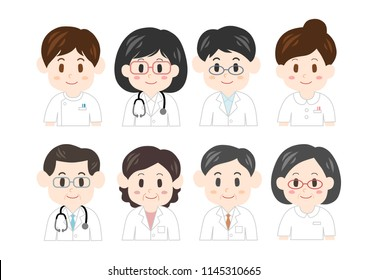 Health personnel icons set
