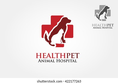 Health Pets Vector Logo Template. Vector silhouettes of cat and dog on the poster for veterinary shop or clinic.