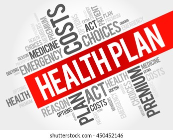 Health Plan word cloud collage, health concept background