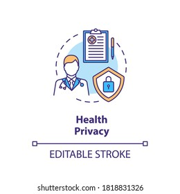 Health privacy concept icon. Medical records privacy idea thin line illustration. Confidentiality of patient records. Health care. Vector isolated outline RGB color drawing. Editable stroke
