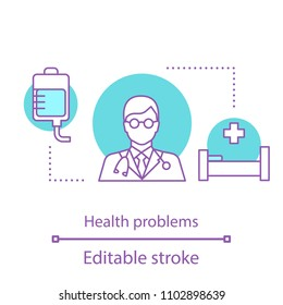 Health problems concept icon. Doctor. Medical help. Hospital idea thin line illustration. Vector isolated outline drawing. Editable stroke