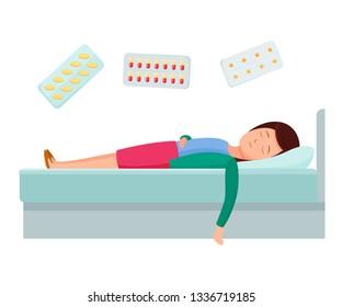 Health problems, Zika virus, malaria, human discomfort symptoms. Girl feel discomfort, malaise. Medical procedures in hospital, treatment medication. Hospital healthcare aid concept. Cartoon vector