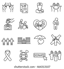 Health protection icons set. Protection of life collection. Thin line design