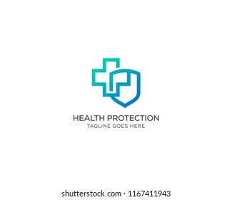 Health Protection With Shield Logo Design Vector Template For Medical Or Insurance Company.