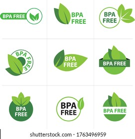 Health safety concept Buying plastic with the BPA free green logo. Vector set BPA Bisphenol A flat badge icon for non-toxic plastic. Vector illustration.