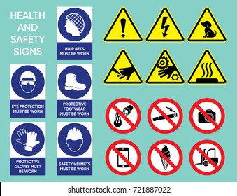 Health and safety signs big vector collection