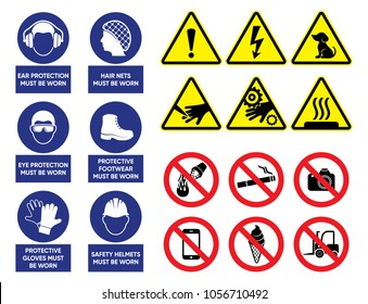 Health and safety signs high quality vector collection