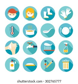 Health and Sanitation Flat Icons Set, Cleanness, Contagious Disease Prevention and Secure