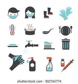 Health and Sanitation Icons Set, Cleanness, Contagious Disease Prevention and Secure