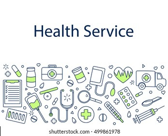 Health service banner vector illustration. Sport tools drawing. Icons line art set