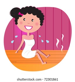 Health and spa: Happy smiling woman relaxing in infrared sauna. Vector