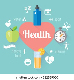 Health and sport lifestyle illustration and info graphic. Vector modern flat design element